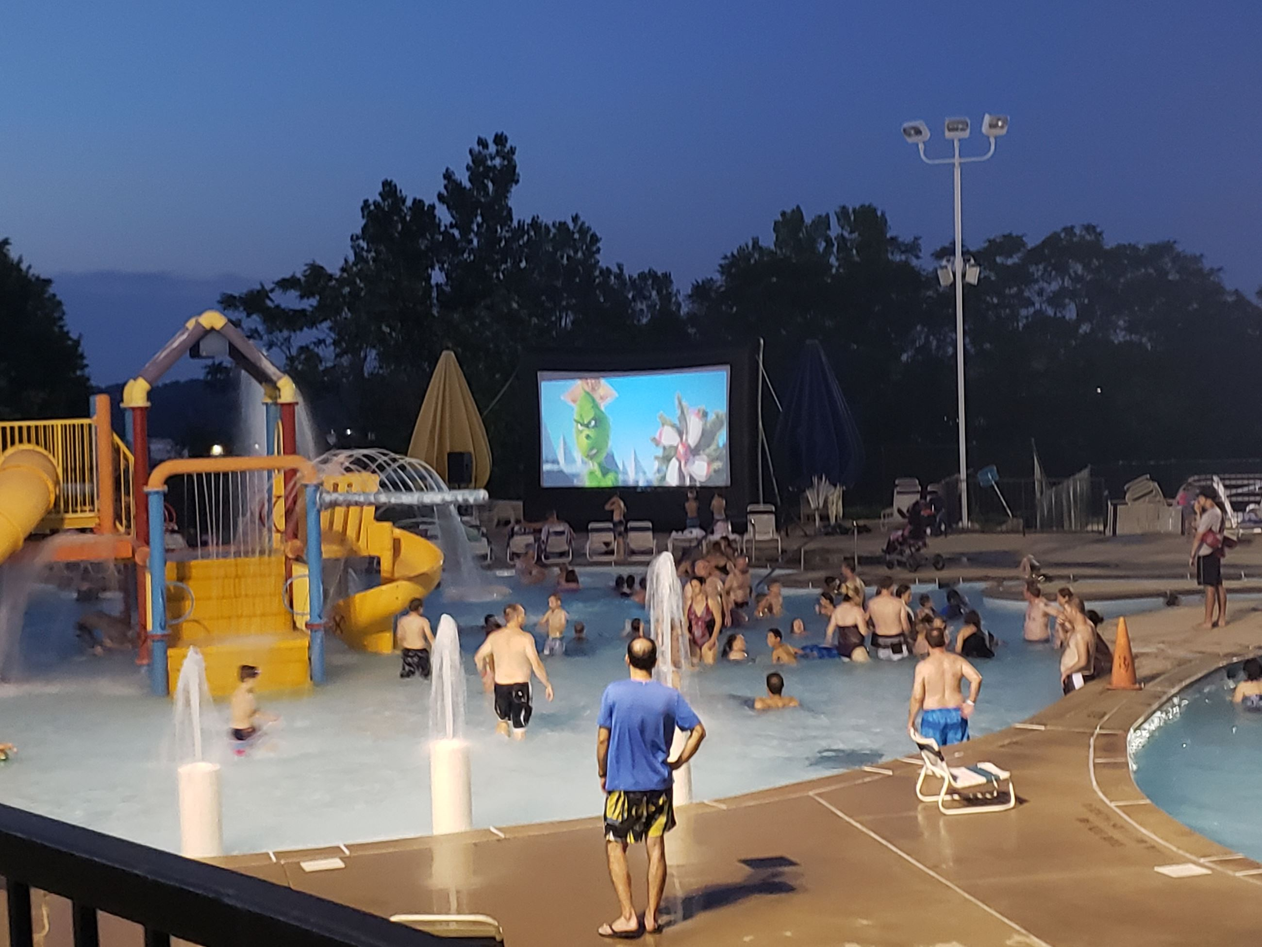 big screen movie at riverchase outdoor pool