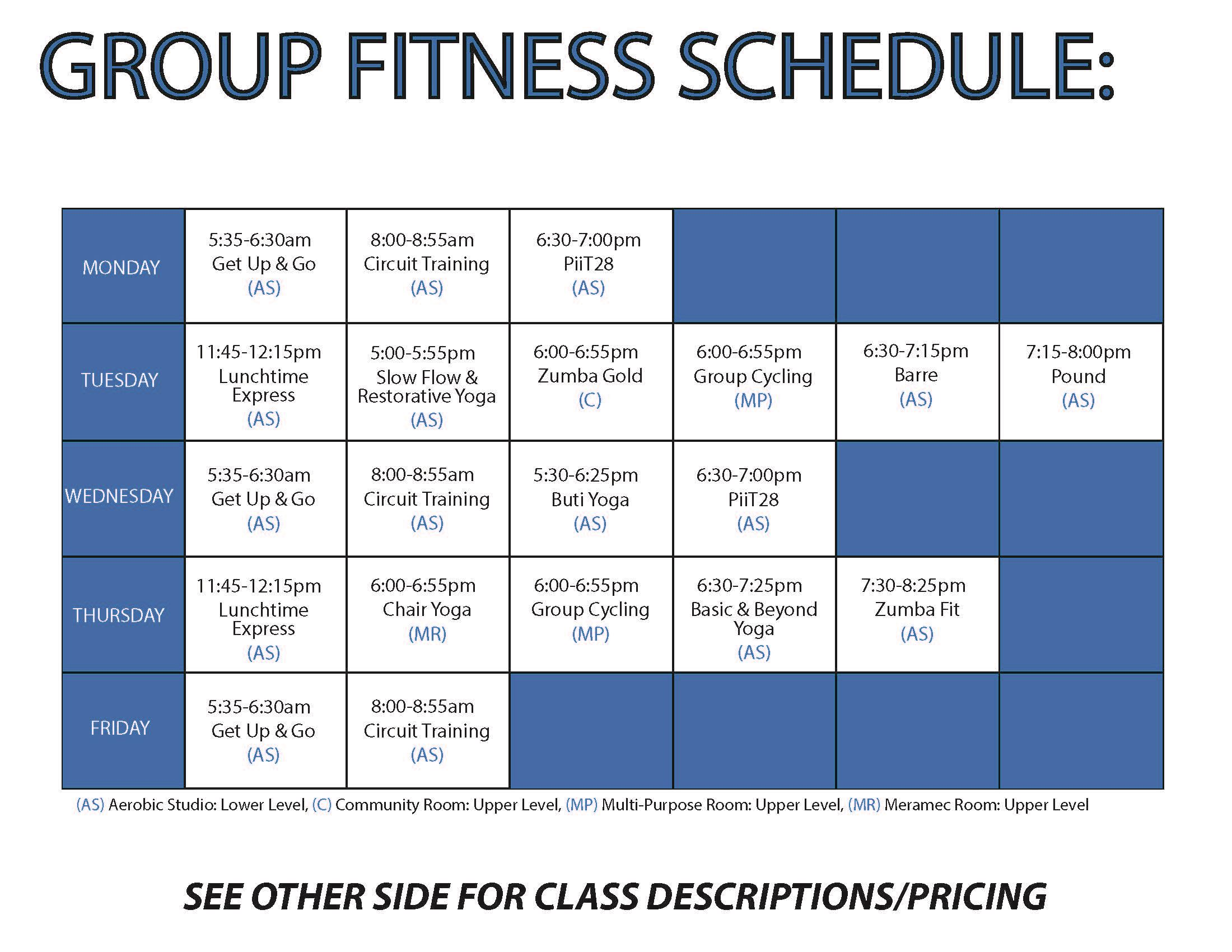 calendar of riverchase fitness classes